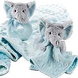 Elephant Baby Blanket, Elephant Plush Blanket & Elephant Rattle Toy - Baby Gift Set of 3 - Adorable Elephant Ring Rattle, Elephant Stuffed Animal Blanket & Soft Blue Elephant Security Blanket