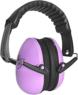 Ear Buddy Free Back Packer, Kids Hearing Protection Earmuffs - Junior Ear Defenders for Children, Infants, Small Head Adults, Women - Foldable Ear Protector Noise Reduction Ear Muffs (Violet)