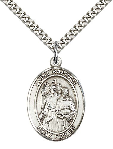 Sterling Silver St. Raphael the Archangel Pendant with 24' Stainless Steel Heavy Curb Chain. Patron Saint of Blind/Love/Safe Journey