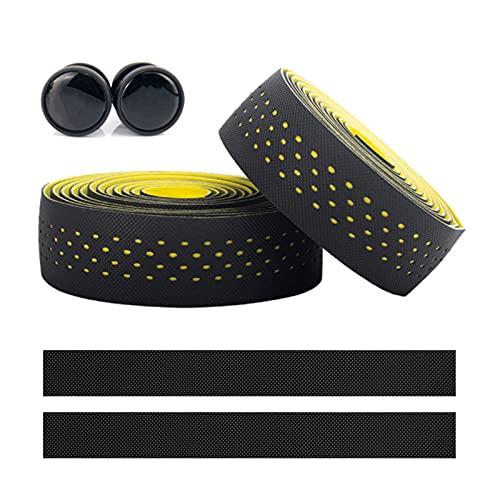 SacJkt Cinta para manillar de bicicleta, cintas antideslizantes transpirables para manillar de bicicleta de carretera, 2 rollos EVA Cinta para manillar con tapones (negro amarillo, 2,25 m)