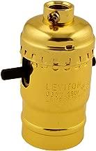 Leviton 6098-PG Medium Base Complete, Aluminum Shell Incandescent Lampholder, Push-Through, Single Circuit, 1/8IPs Tapped Bushing, Brass