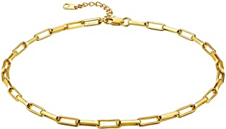 ChainsHouse 18K Gold Layered Bead/Oval/Heart Shape/Crystal Beads/Thick Chunky Cuban/O Cable Link Chain Choker Necklaces for Women Girls, Send Gift Box