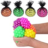 Totem World 12 Colorful Sewn Mesh Stress Balls - 2.4' Squishy Fidget Toy Perfect for Kids and Adults Materials for Lasting Use - Squeeze Balls for Anxiety and Concentration - Great Party Favors