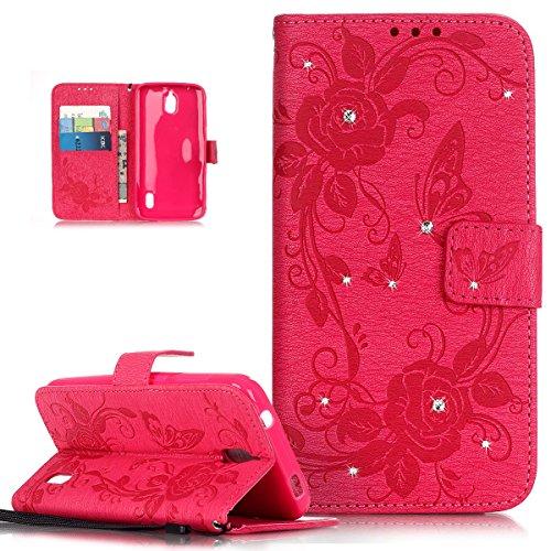 Kompatibel mit Huawei Y625 Hülle,Kristall Strass Glänzend Diamant Prägung Rose Blumen Schmetterling PU Lederhülle Flip Hülle Cover Ständer Etui Wallet Tasche Schutzhülle für Huawei Y625,Rose Red