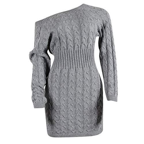 Hniunew One-Shoulder Pulloverkleid Damen Hemdkleid LangäRmliges Ballkleid LäSsige Verbandkleid Bustier Shirtkleider Dicke Outfit Cocktailkleider Lange Verdrehte Strickjacke-Kleider