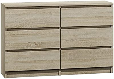 Daily Deal Offers Modern Design Large Wide 6 Drawer Chest of Drawers (Light Oak)
