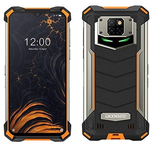 DOOGEE S88 PRO 10000mAh Akku Outdoor Smartphone Ohne Vertrag, Octa-Core 6GB+128GB Android 10, 21MP Quad-Kamera, 6,3-Zoll-FHD + Corning Gorilla-Glas, Drahtlose Rückladung, IP68 Robustes Handy Orange