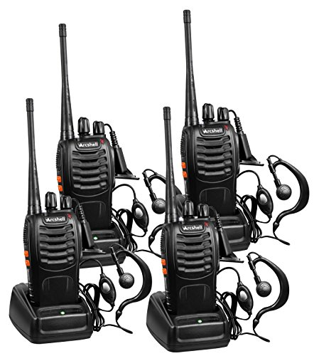 Arcshell Rechargeable Long Range Two-Way Radios with Earpiece 4 Pack