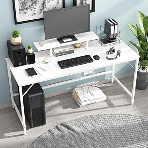 HOMEYFINE Scrivania per Computer,Tavolo per Laptop con Portaoggetti per Controllore,Legno e Metallo,Tavolo per Studio,152 x 60 x 73 cm (Finitura bianca)