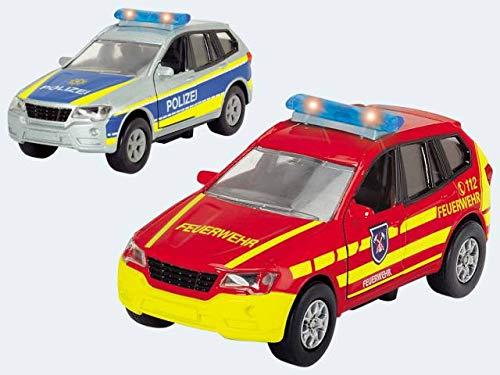 Dickie Toys 203712011 - S.O.S. Safety Unit, Polizeiauto oder Feuerwehrauto mit Rückzugmotor, mit Licht- und Soundfunktion, 1:43, 12cm (Sortiert)