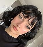 LEMEIZ Pelucas con flecos, negro rizado pelucas para mujer pelo corto, sintético negro corto rizado, peluca sin pegamento 10 pulgadas LEMEIZ-134-2