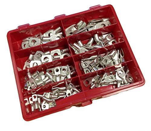 120 Quetschverbinder Sortiment Kasten Box Rohrkabelschuhe Set unisoliert 4-16mm² I Industriequalität