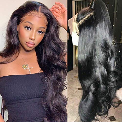 Lemoda Brazilian Body Wave 360 Lace Frontal Wigs 150% Density Pre-Plucked Virgin Human Hair with Baby Hair Natural Color 12 inch