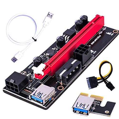 PHLPS Adaptador de tarjetas de elevador extensor PCI-E Riser para Bitcoin-litecoin-Eth Coin PCIE VER006C 6 PIN 16X A 1X Tarjeta adaptadora de cables del adaptador de elevación eléctrica para GPU Minin