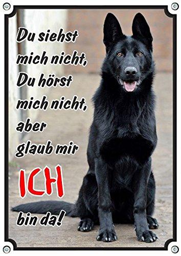 Petsigns Hundeschild Deutscher Schäferhund schwarz - Metallschild in 1a Fotoqualität, DIN A4