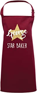 Direct 23 Ltd Personalized Kids Apron - Gold Glitter Star Baker (Burgundy, 7-10 Years)