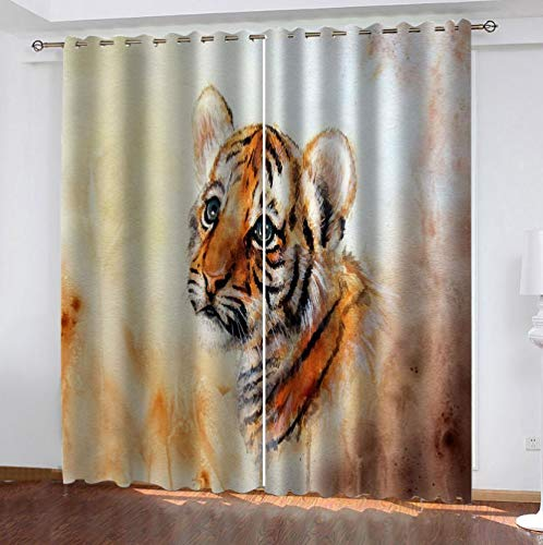 zpangg Black Out Window Cover Oil Painting Tiger Blackout For Children Bedroom Eyelet Thermal Insulated Room Darkening Curtains For Nursery Living Room Bedroom 184×214Cm