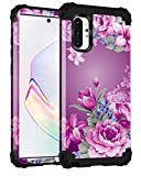 Lontect for Galaxy Note 10 Plus Case Floral 3 in 1 Heavy Duty Hybrid Sturdy High Impact Shockproof Protective Cover Case for Samsung Galaxy Note 10 Plus/Note 10 Plus 5G, Purple Flower/Black