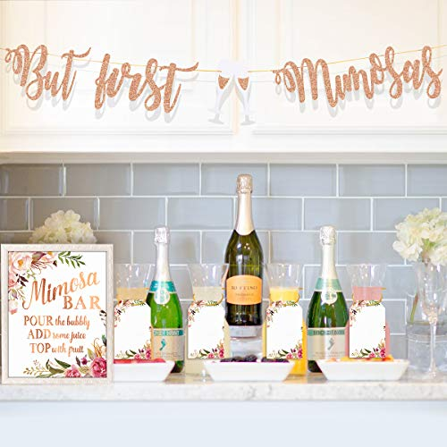 MORDUN Mimosa Bar Supplies - Rose Gold Sign Banner Tags Kit- Bridal Shower Decorations - Decor for Baby Shower Champagne Brunch Bubbly Bar Wedding Engagement Birthday Party Graduation Fiesta