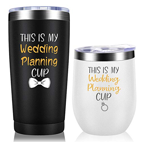 Wedding Planning Cup Set - Engagement Gifts Newlywed Gifts for Couples Bride to Be Gifts for Her, Women Wedding Parties Decorations - Vacuum Insulated Tumbler 12oz 20oz Black and White