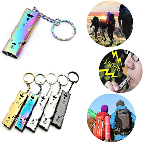 1Pc Outdoor Survival Whistle Double Pipe High Decibel Whistle Keychain
