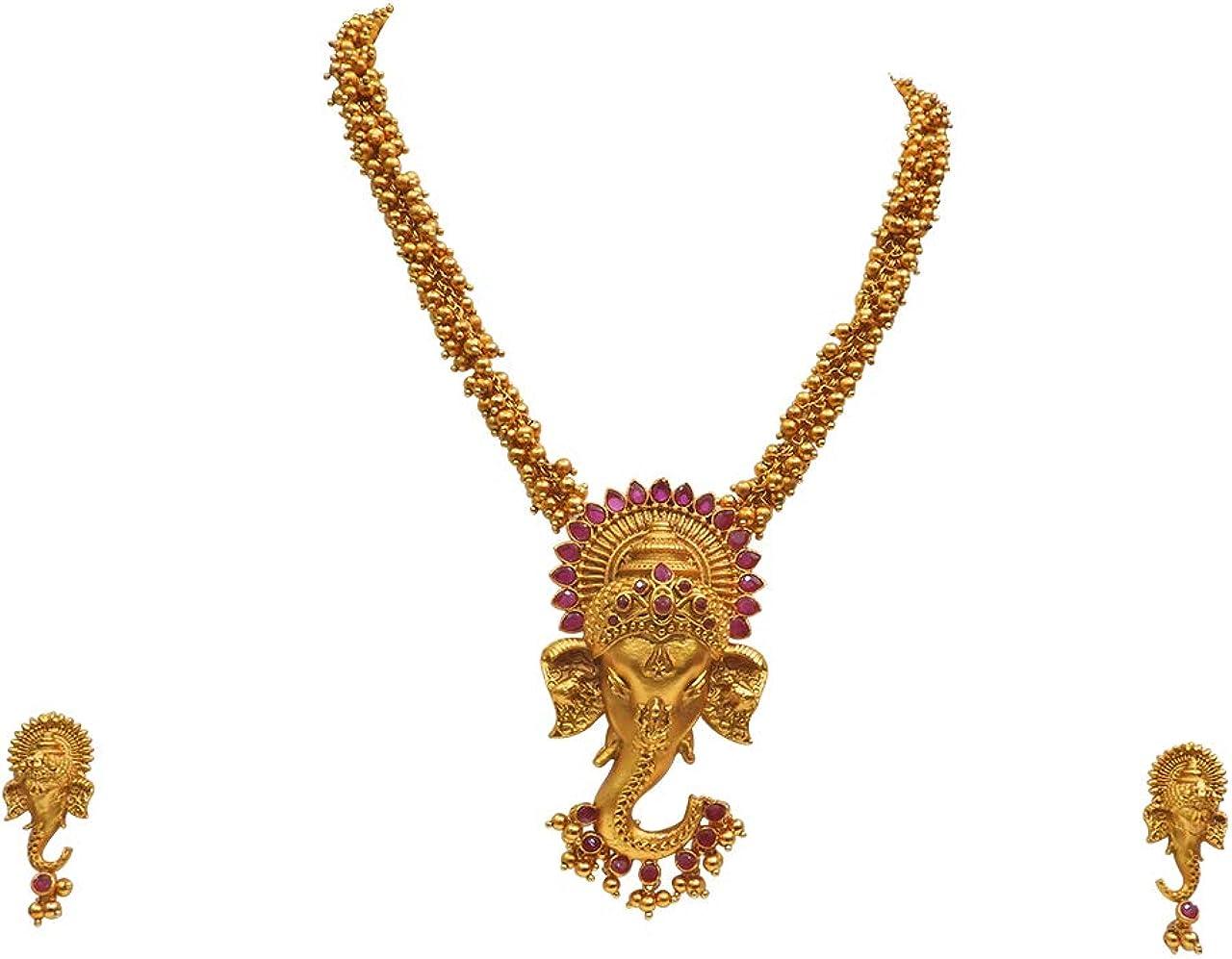 Babosa Sakhi Traditional Ganesha Pendant Matte Finish God Figure Temple Necklace Jewelry Set