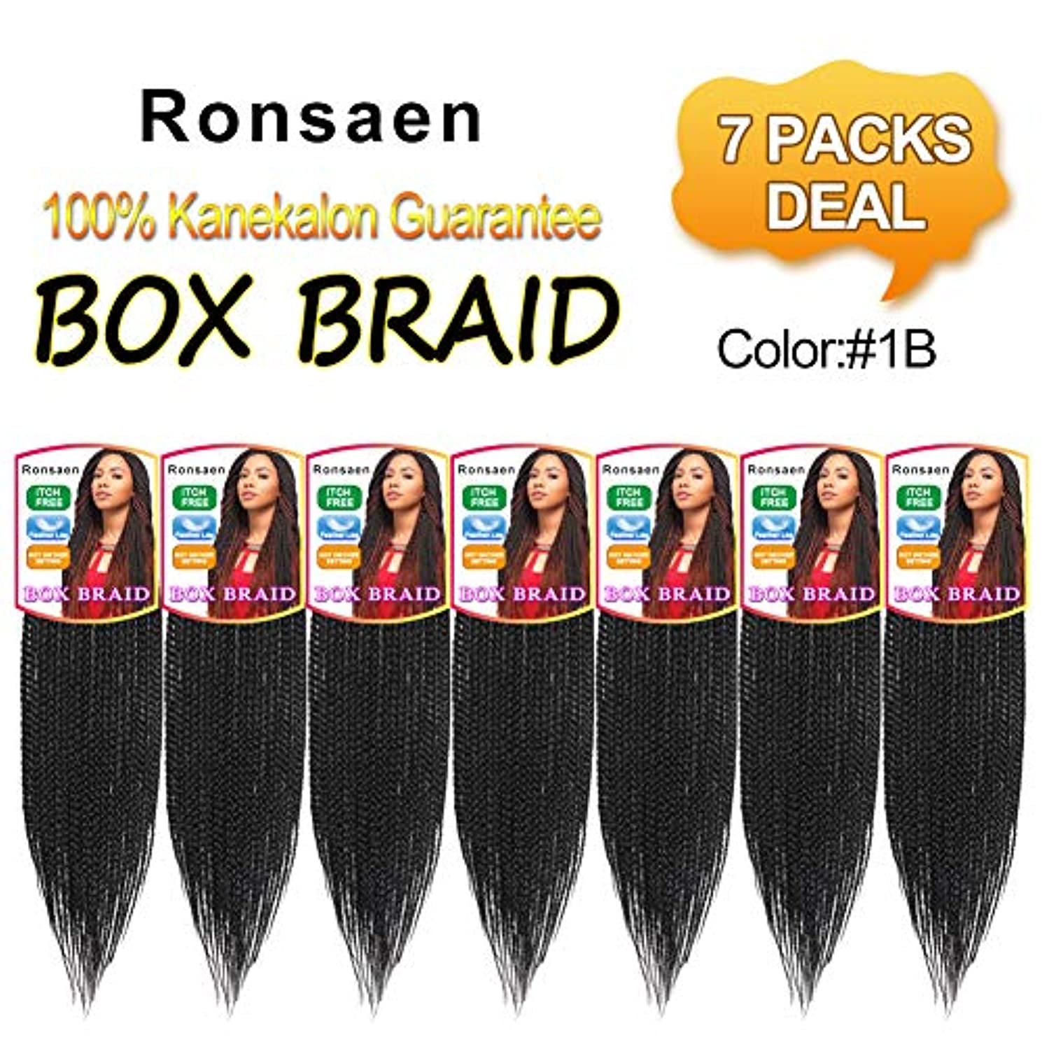 Ronsaen Box Braids Crochet Hair 100% Kanekalon Crochet Box Braids Hair (14