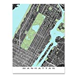 Manhattan Map Art Print, New York City Poster, NYC, Central Park, Times Square, Upper East Side