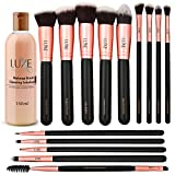 Luxe Premium Makeup Brushes Set with Brush Cleaning Solution - 14 Pc...