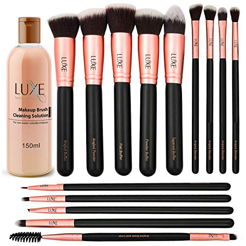 Luxe Premium Makeup Brushes Set with Brush Cleaning Solution  14 Pc Face and Eye Synthetic Brushes for Foundation Powder Blush and Eyeshadow