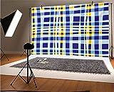 Telón de fondo de vinilo amarillo y azul, 20 x 10 pies, diseño de cuadros escoceses retro con rayas de color, fondo para bebé, cumpleaños, boda, estudio, fotografía.