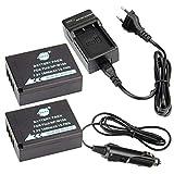 DSTE 2-Pieza Repuesto Batería y DC129E Viaje Cargador kit para Fujifilm NP-W126FinePix HS30EXR HS33EXR HS35EX HS50EXR X-A1X-E1X-E2X-M1X-Pro1T1T10Digital Cámara