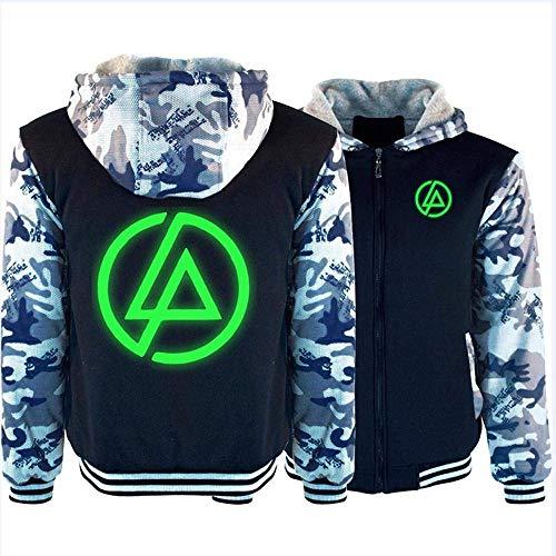 NFLSWER Unisex Jacke Sweater - Linkin Park Rock Band glühendes Drucken Neue beiläufige warme Pullover mit Reißverschluss Sweatshirt Baseball-Shirt Long Sleeve Mantel -Teens Geschenk A