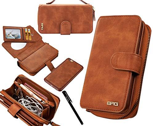"Urvoix iPhone 6S Plus/iPhone 7 Plus/iPhone 8 Plus Case, Premium Leather Zipper Wallet Handbag Detachable Removable Magnetic Case with Flip Card Holder Cover for iPhone 8Plus/7Plus/6SPlus (5.5"")"