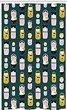ABAKUHAUS skandinavisch Schmaler Duschvorhang, Nesting Dolls, Badezimmer Deko Set aus Stoff mit Haken, 120 x 180 cm, Senf Teal