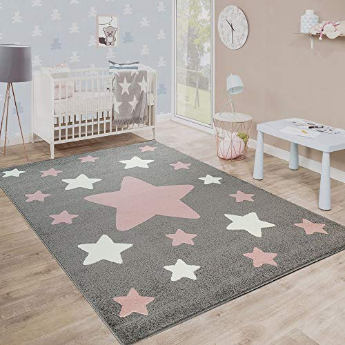 Tappeto Stanza dei Bambini Tappeto per Bambini Grandi E Piccole Stelle in Grigio Rosa, Dimensione:160x220 cm