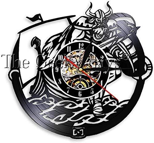 Vikingos escandinavos Odin y Gangni Vinilo Sing Reloj de Pared Arma Espada y Escudo Lámpara de Pared mágica Decoración Reloj de Pared