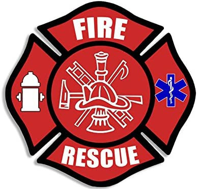 Amazon.com: Red FIRE Rescue Maltese Cross Shaped Sticker (Decal EMT Medic Firefighter): Kitchen & Dining