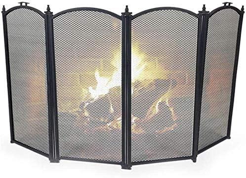 Fresno Mall HIZLJJ 4 Panel Spark Guard Metal Fireplace 2021 autumn and winter new Iron M Screen