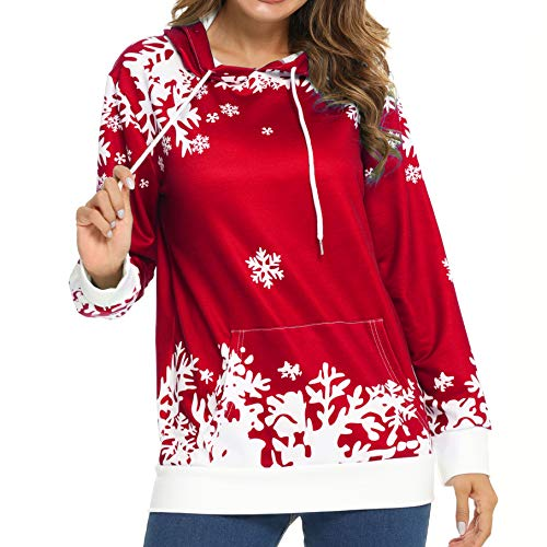 LOTUCY Christmas Women Sweatshirt Casual Hoodie Jumper Graphics Loose Snowflake Print Pocket Pullover Long Sleeve Sweater Xmas Holiday Funny Tops (Red, XL)