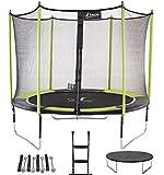 Kangui - Trampoline de Jardin 305 cm + Filet de sécurité + échelle + bâche de Protection + kit d'ancrage JUMPI Vert/Noir 300