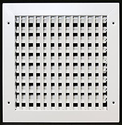 """12"""" X 10"""" Adjustable AIR Supply Diffuser - HVAC Vent Cover Sidewall or Ceiling - Grille Register - High Airflow - White [Outer Dimensions: 13.75""""w X 11.75""""h]"""