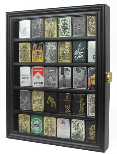 Lockable Military Sport Lighter Display Case Wall Cabinet Shadow Box LC30 (Black)
