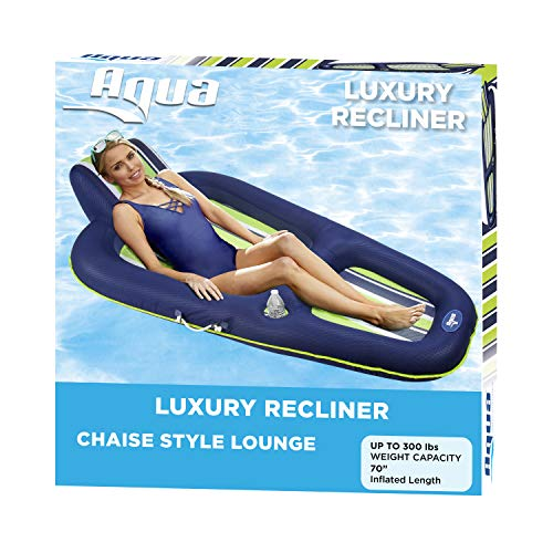 """Aqua Oversized Deluxe Pool Lounger, Inflatable Pool Float, Heavy Duty, X-Large, 70"""", Navy/Green/White Stripe"""