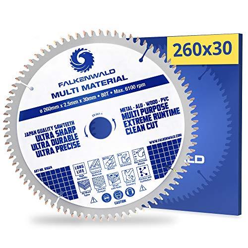 FALKENWALD Hoja de sierra circular (260 x 30 mm, 40 dientes, metal duro, para madera, metal, aluminio y plásticos, compatible con Makita HS0600, Bosch y otras marcas