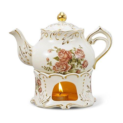 Panbado Teekanne 850 ml mit Stövchen aus Elfenbein Porzellan für Tee Kaffee Set, Cremefarbe