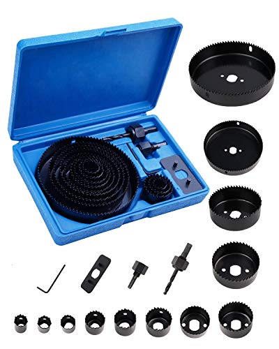 Hole Saw Set,16PCS Hole Saw Kit with 12PCS Saw Blades,2Pcs Arbors,1PC Hex Key,1PC Enhancement Mat,Max Size 5