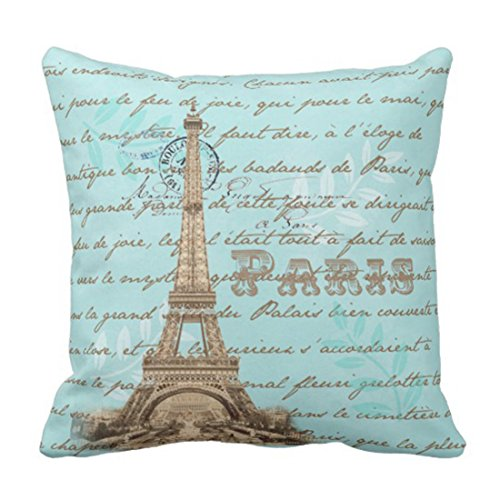 lucies Throw Pillow Cover Vintage French Paris Eiffel Tower Collage Black Painting Decorative Pillow Case Home Decor Square 18 x 18 Inch Pillowcase-5D
