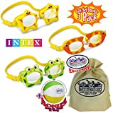 Matty's Toy Stop Aquaflow Mini Fun Swim Goggles Frog, Fish & Sea Star Gift Set Bundle with Bonus 16' Beach Ball & Storage Bag - 3 Pack