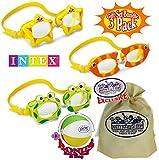 Matty's Toy Stop Aquaflow Mini Fun Swim Goggles Frog, Fish & Sea Star Gift Set Bundle with Bonus 16' Beach Ball & Storage Bag - 3 Pack